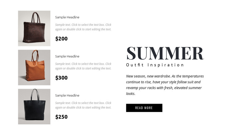 Collection of bags Homepage Design