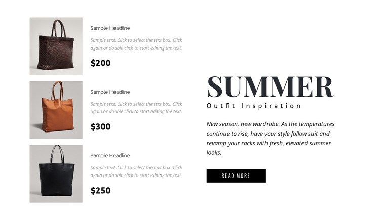 Collection of bags HTML Template
