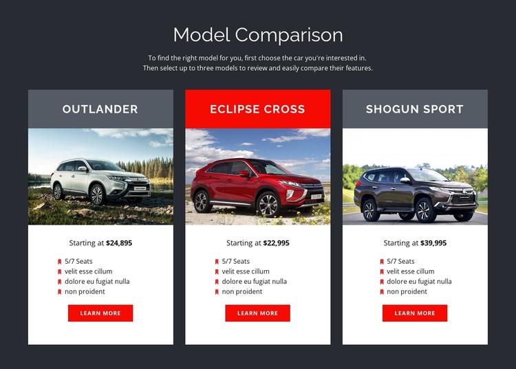 Model Comparison Joomla Template