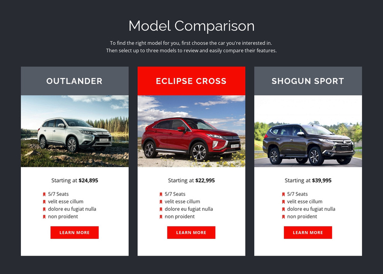 Model Comparison One Page Template
