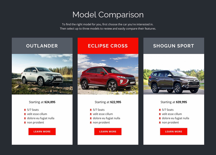 Model Comparison Website Template