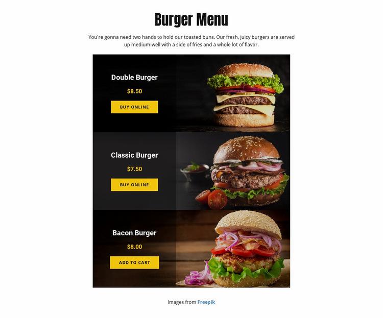 Burger Menu Website Builder