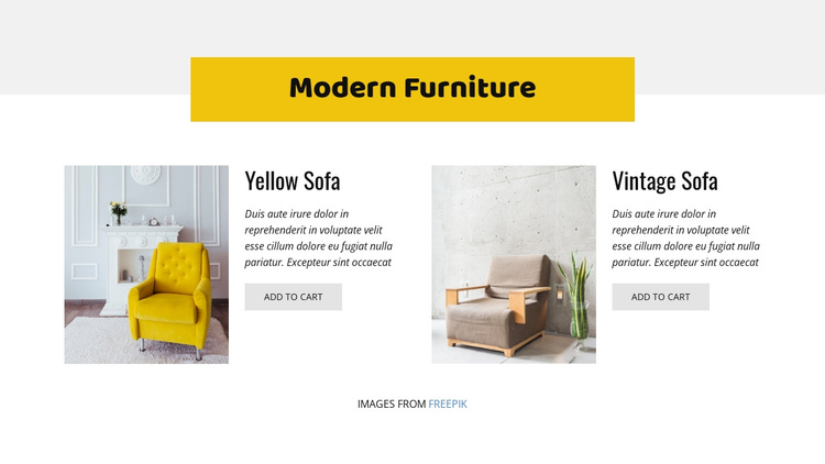 Colorful furniture One Page Template