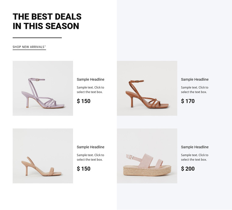 The best deals in this season Web Design