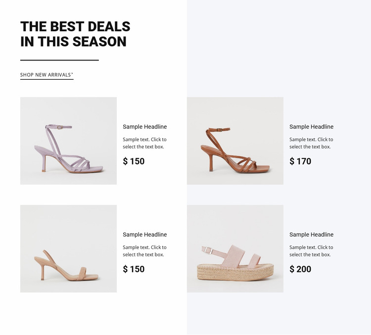The best deals in this season Website Mockup