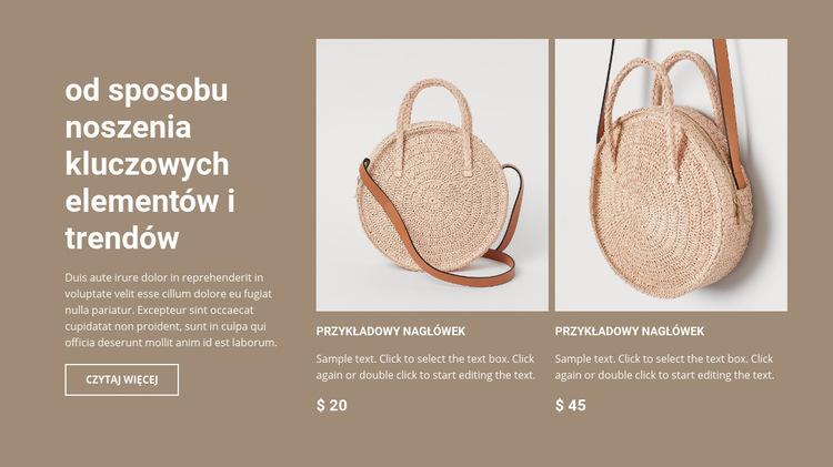 Nowa kolekcja toreb Szablon witryny sieci Web