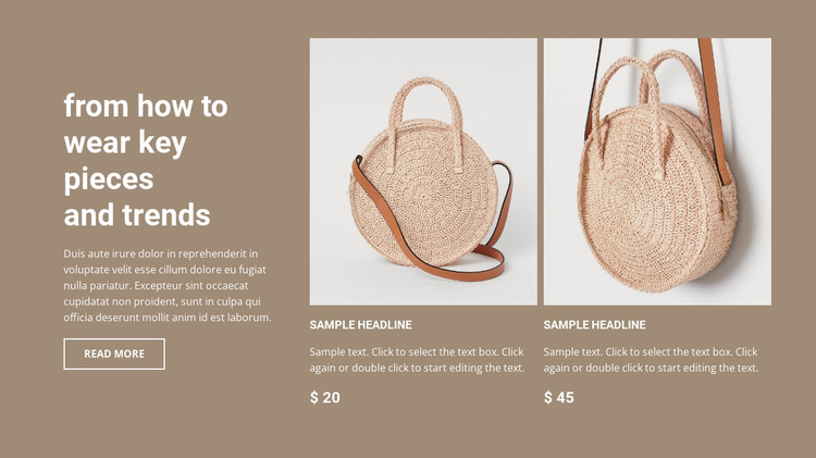 New bags collection Website Builder Templates