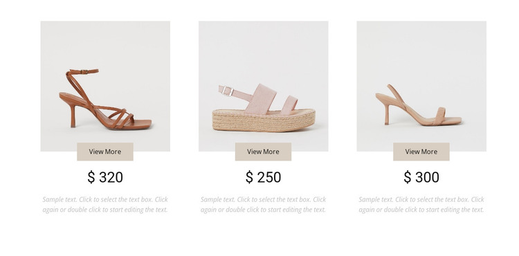 Collection of feminine shoes Web Design