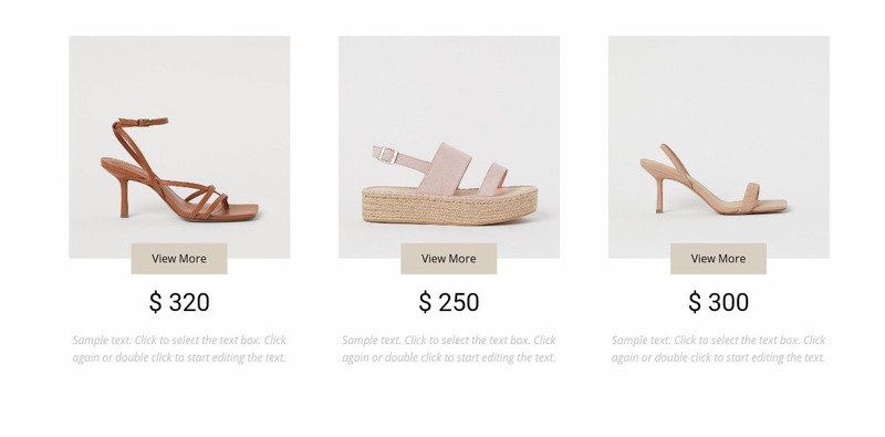 Collection of feminine shoes Web Page Designer
