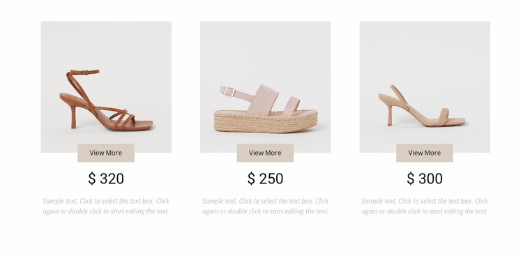 Collection of feminine shoes Landing Page