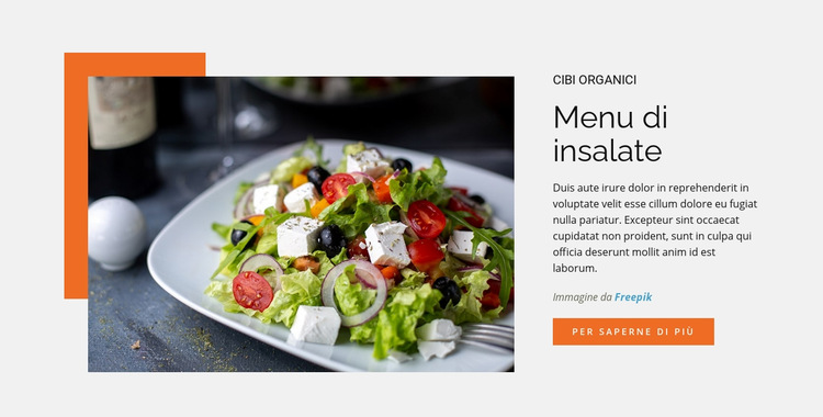 Menu di insalate Modello di sito Web