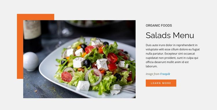 Salads Menu WordPress Website