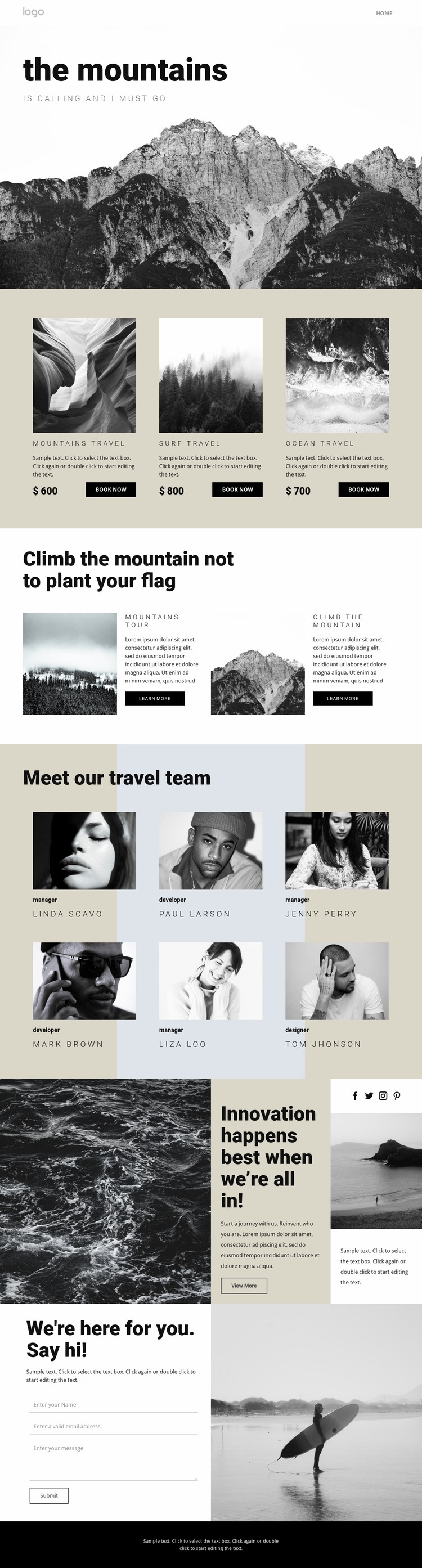 Agency for people who travel Html Website Builder