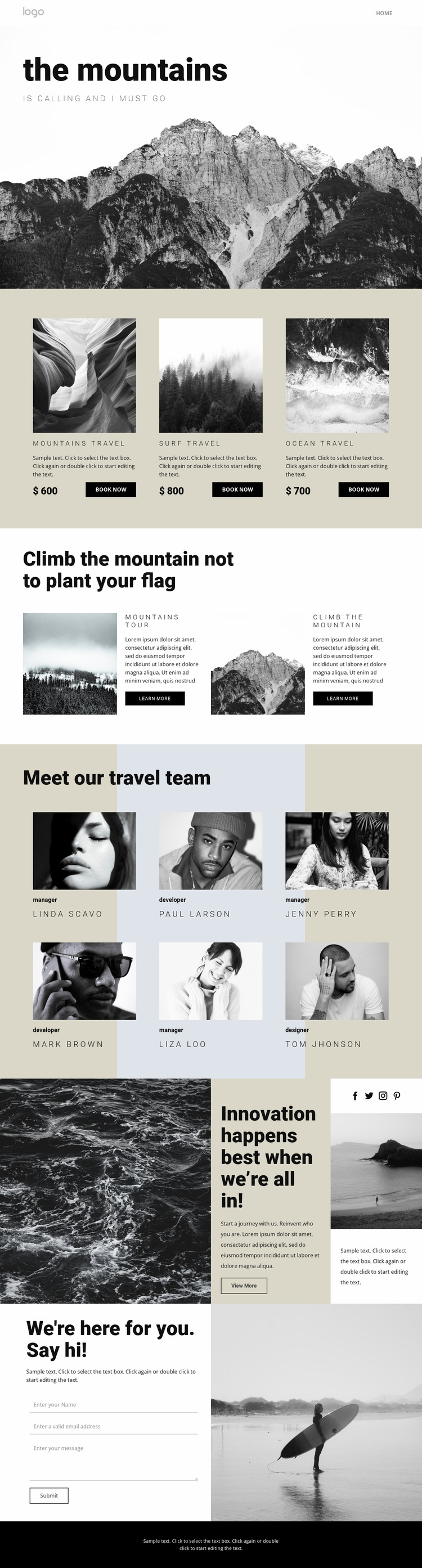 Agency for people who travel Landing Page