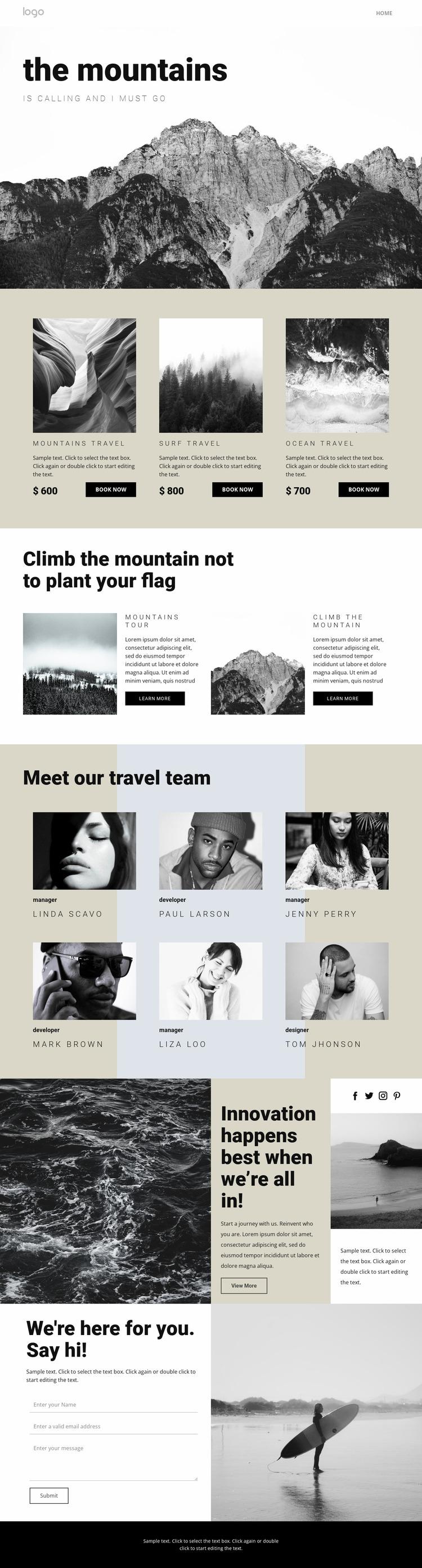 Agency for people who travel WordPress Website Builder
