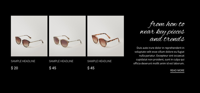 New sunglasses collection Web Page Design