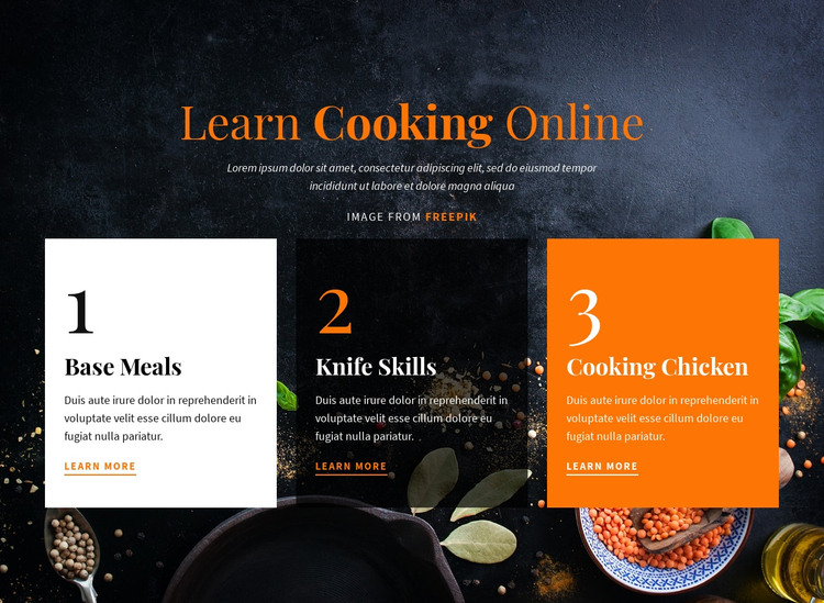 Learn Cooking Online Homepage Design