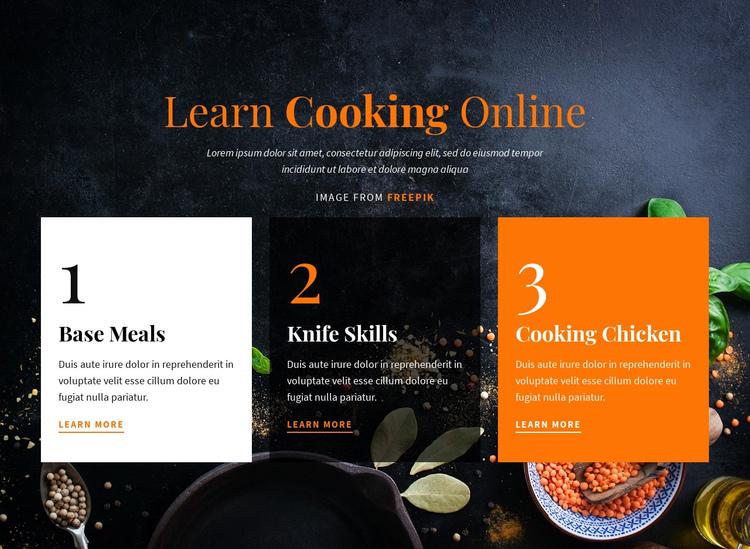 Learn Cooking Online Website Builder Software