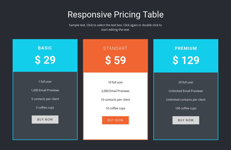 Responsive pricing table HTML5 Template