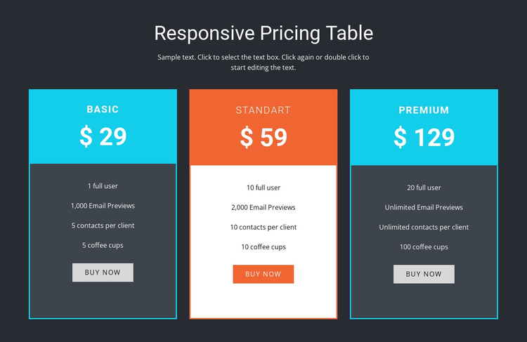 Responsive pricing table One Page Template