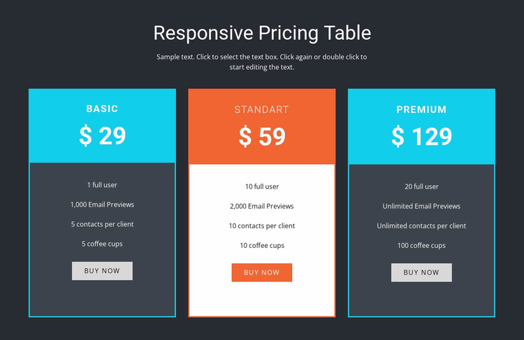 Responsive pricing table Landing Page