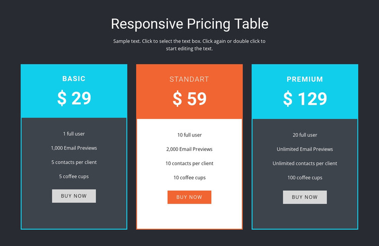 Responsive pricing table Woocommerce Theme