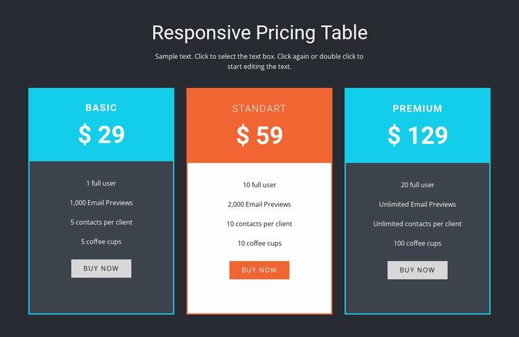 Responsive pricing table WordPress Website Builder