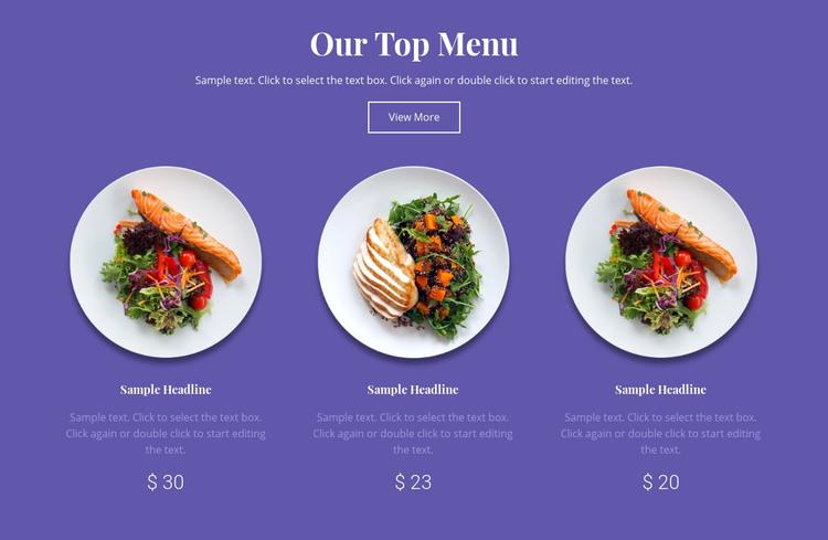 Our top menu Homepage Design