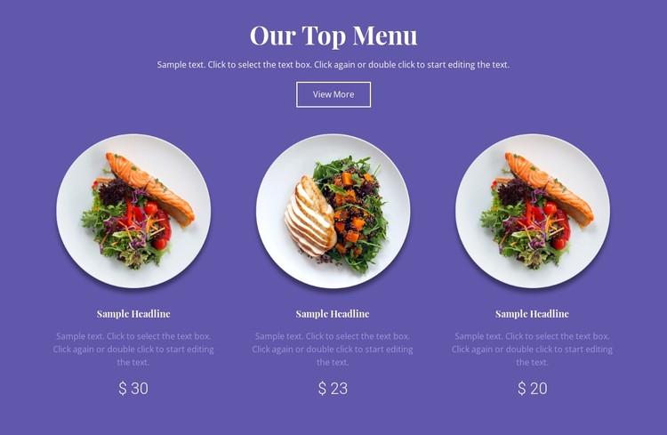 Our top menu Static Site Generator