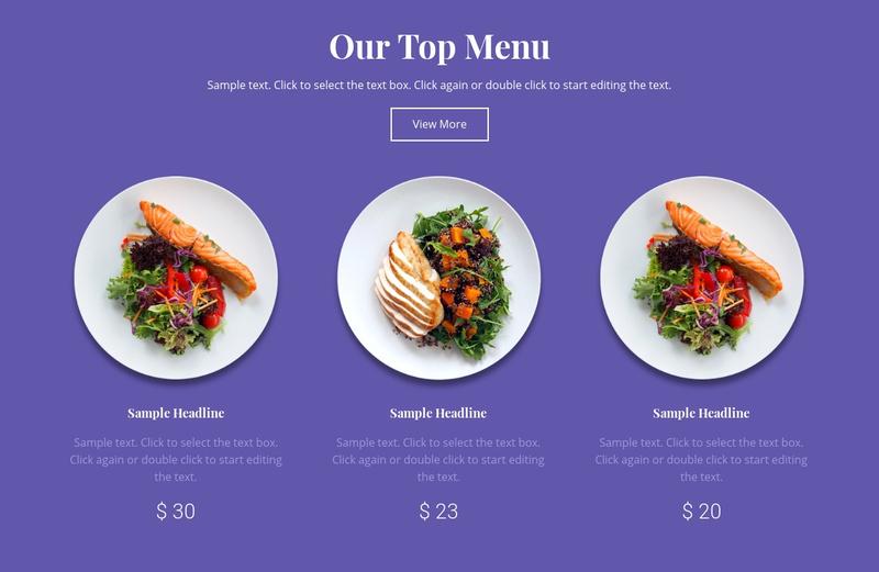 Our top menu Website Maker