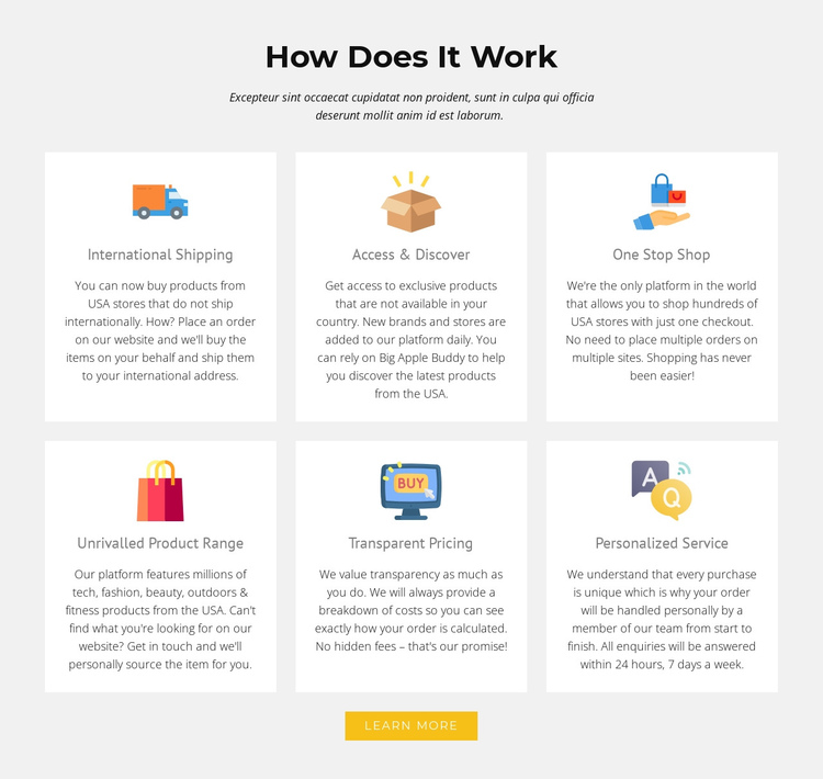 How our shop works One Page Template