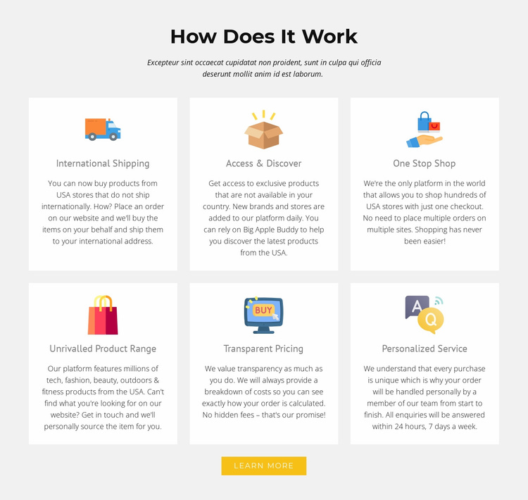 How our shop works Landing Page