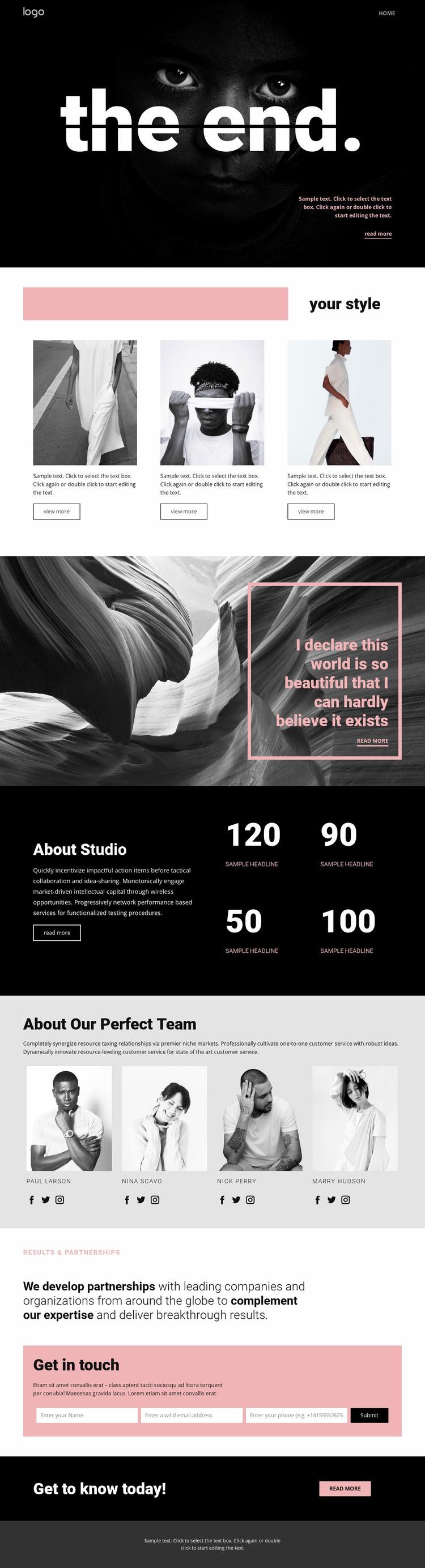 Perfecting styles of art Website Mockup
