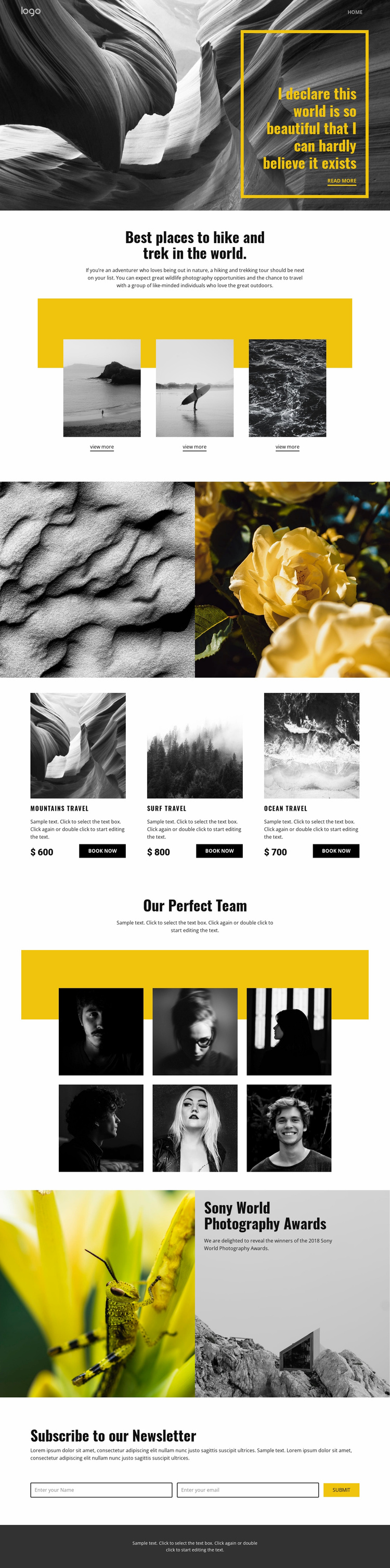 Best world places for travel Website Template