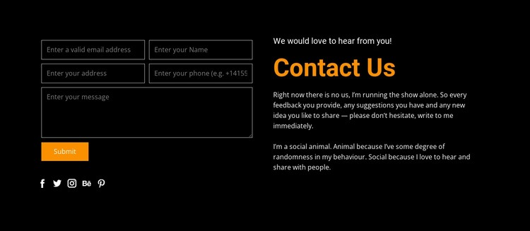 Contact form on dark background Html Code Example