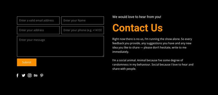 Contact form on dark background WordPress Website Builder