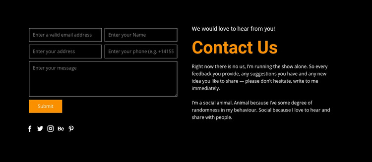 Contact form on dark background WordPress Website