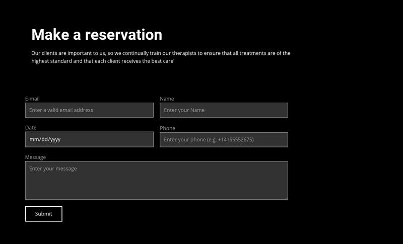 Make a reservation Web Page Designer