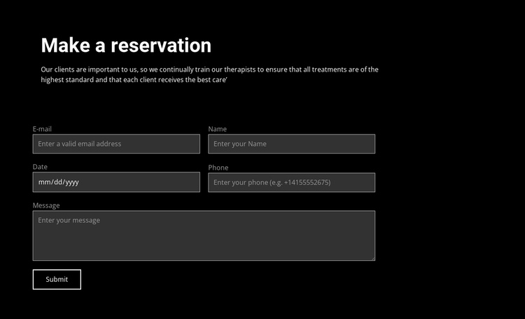 Make a reservation Website Builder Software