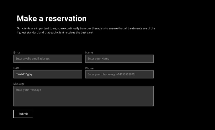 Make a reservation Website Template