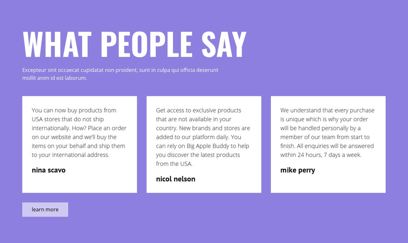 Positive testimonials Web Page Design