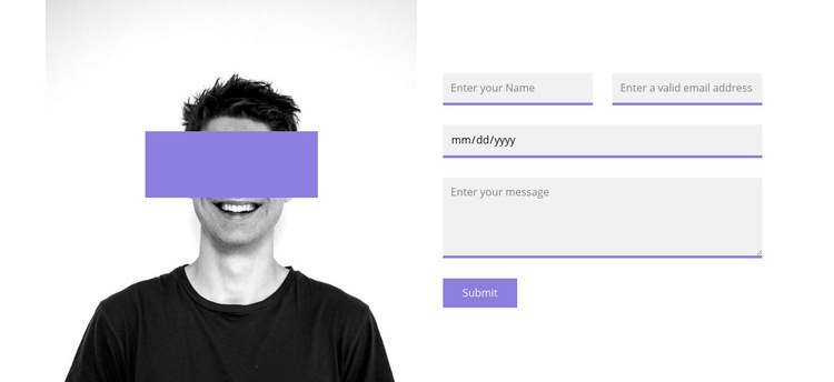 Photo and contact form Html Code Example