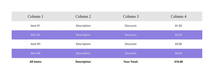 Colorful table One Page Template