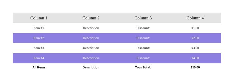 Colorful table WordPress Theme