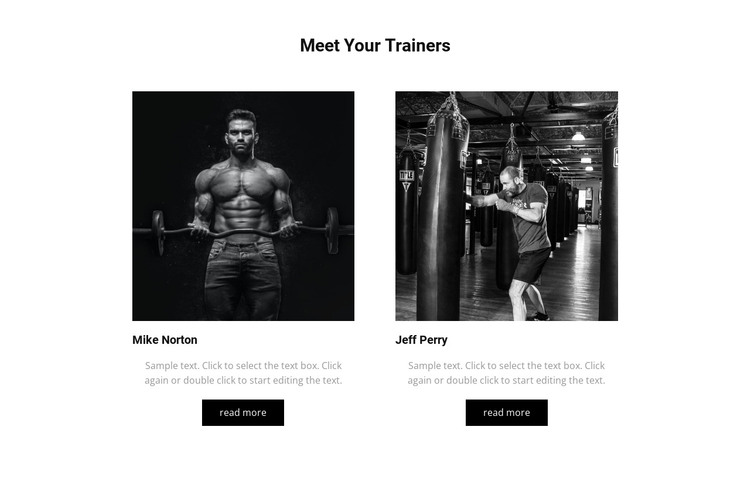Meet your trainers HTML Template