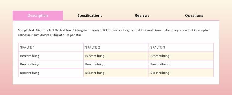 Registerkarten auf dem Verlaufshintergrund Joomla Vorlage