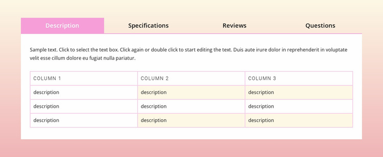 Tabs on gradient background Website Builder Templates