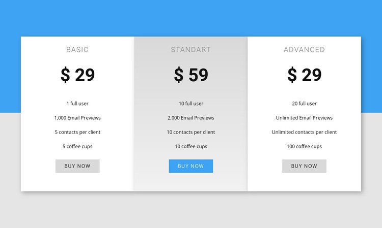 Our pricing CSS Template