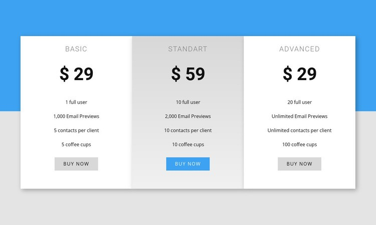 Our pricing Html Code