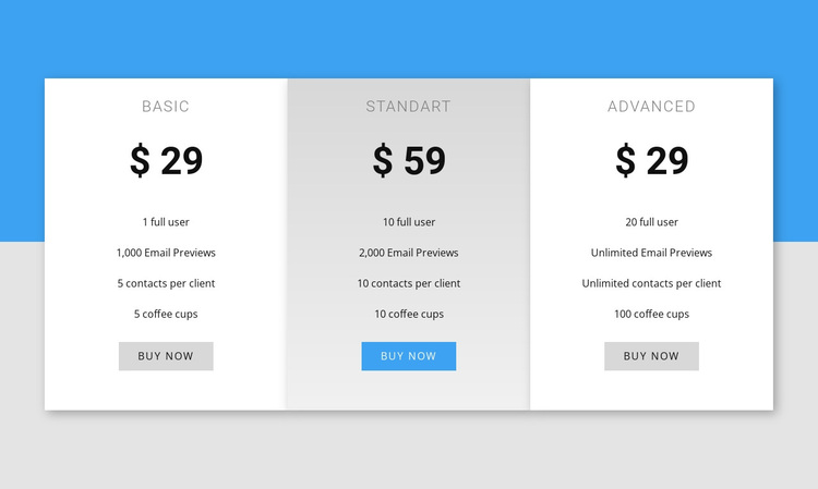 Our pricing Joomla Page Builder